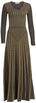 Roberto Cavalli Textured Knit A-Line Maxi Dress