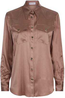 Brunello Cucinelli Satin Point Collar Shirt
