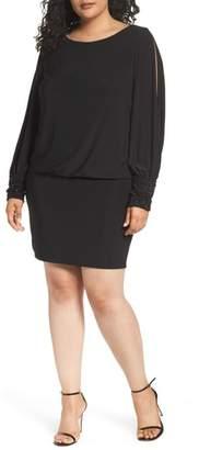 Xscape Evenings Embellished Cuff Blouson Jersey Dress