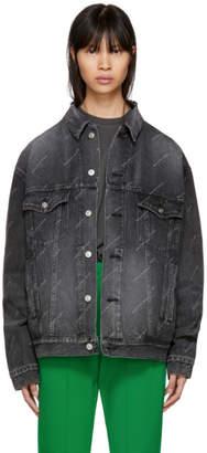 Balenciaga Black Denim All Over Logo Jacket
