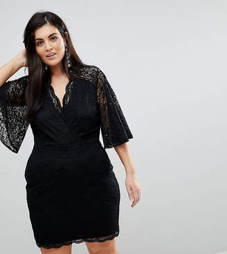 Asos Cape Plunge Lace Mini Dress
