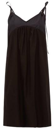 Rossell England - Tie Strap Cotton Slip Dress - Womens - Black
