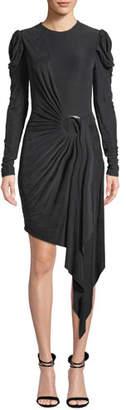 Jonathan Simkhai Sueded Jersey Asymmetric Wrap Dress