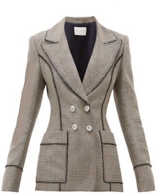 Peter Pilotto Double Breasted Lame Tweed Blazer - Womens - Silver Multi