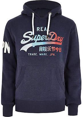 River Island Superdry navy vintage logo print hoodie