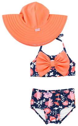 RuffleButts Botanical Two-Piece Swimsuit & Floppy Sun Hat Set