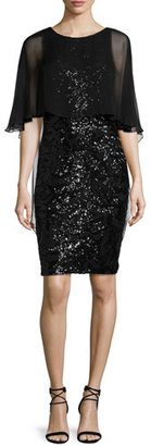 Rickie Freeman for Teri Jon Sequined Capelet Sheath Dress, Black $440 thestylecure.com