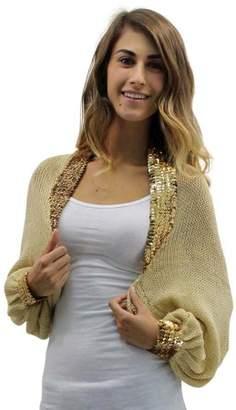 Luxury Divas Tan Golden Knit Shrug Sweater With Sequin Trim