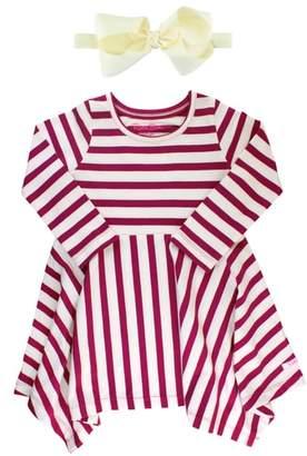 Mulberry RuffleButts Stripe Dress & Headband Set