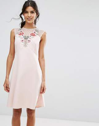 Elise Ryan A Line Dress In Mesh And Floral Applique