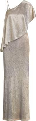 Ralph Lauren Ruffled-Overlay Metallic Gown