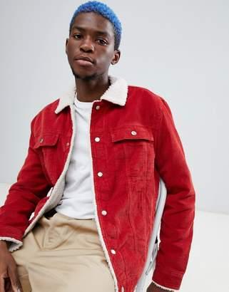 Bershka Trucker Jacket In Red With Fleece Collar