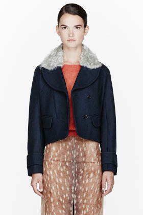 Carven Blue shearling cropped coat