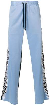 Versace wide leg embroidered side track pants