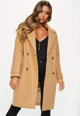 Missguided Camel Double Breasted Cocoon Coat