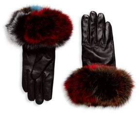 Surell Chic Fox Fur Leather Gloves