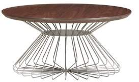 """Emerald Home Pizzazz Walnut Brown 36"""" Coffee Table with Round Top And Metal Basket Base"""