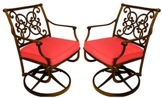 Jockey Fleur De Lis Living Palmhurst Swivel Patio Dining Chair with Cushion Fleur De Lis Living Cushion Color Red, Frame Color: Bronze