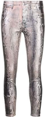 L'Agence snake print metallic trousers