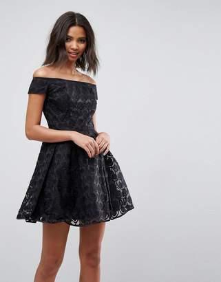 Hell Bunny Paris Lace Off Shoulder Skater Dress