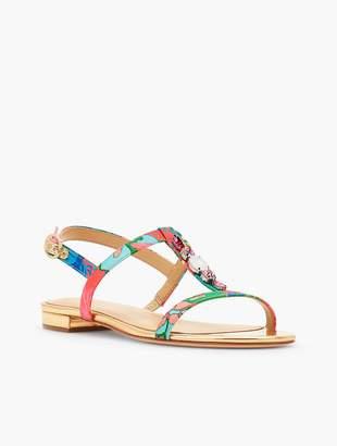 Talbots Keri Faille T-Strap Sandals-Island Floral