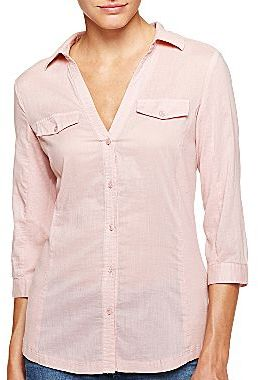 Mng by Mango® Pink Knit Inset Shirt