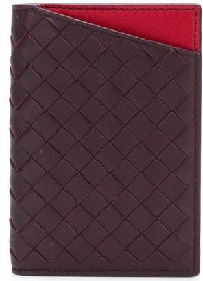 Bottega Veneta dark barolo/China red Intrecciato nappa card case