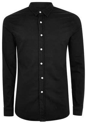Topman Mens Black Stretch Long Sleeve Denim Shirt