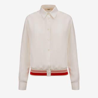 Bally Silk Bomber Shirt Beige, Women's silk bomber style shirt in off-white
