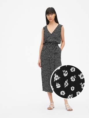 Gap Sleeveless Print Tie-Waist Wide-Leg Crop Jumpsuit