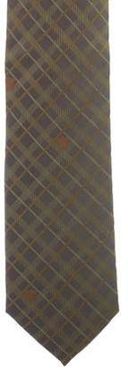 Versace Plaid Print Silk Tie