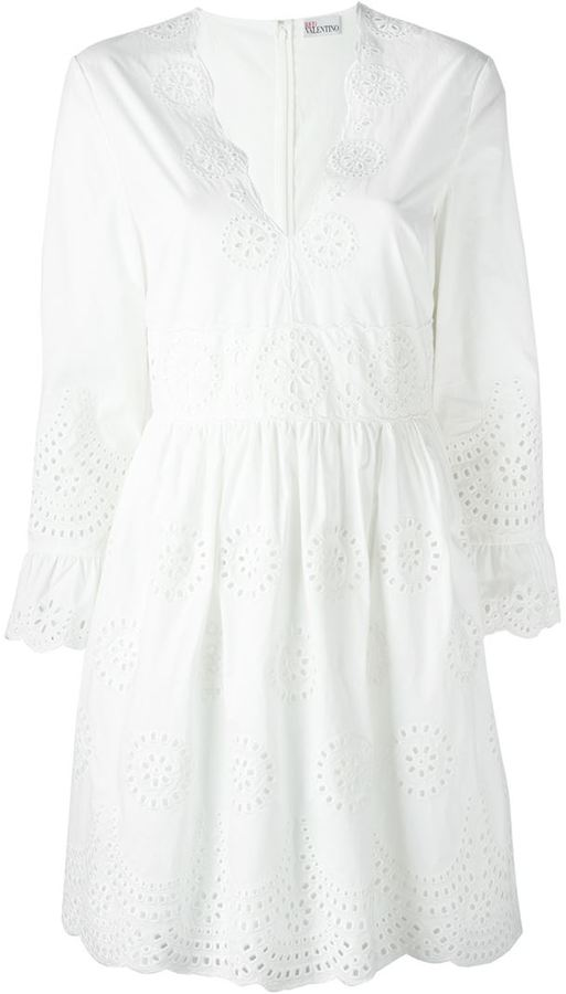RED Valentino Red Valentino eyelet detail flare sleeve midi dress
