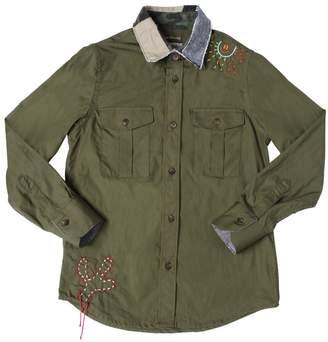 Fred Mello Cotton Poplin Shirt W/ Patchwork Collar