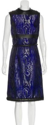 Christopher Kane Leather-Accented Midi Dress