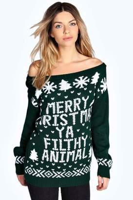 boohoo Slash Neck Filthy Animal Christmas Jumper