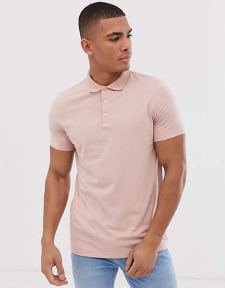 Asos Design DESIGN jersey polo in pink