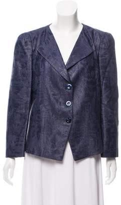 Armani Collezioni Open Collar Printed Blazer