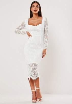 Missguided Lace Long Sleeve Milkmaid Midi Dress
