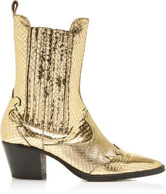 Paris Texas Atlanta Snake-Effect Metallic Leather Cowboy Boots