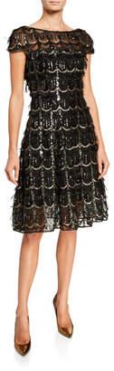 Talbot Runhof Sequined Fringe Fit & Flare Illusion Dress