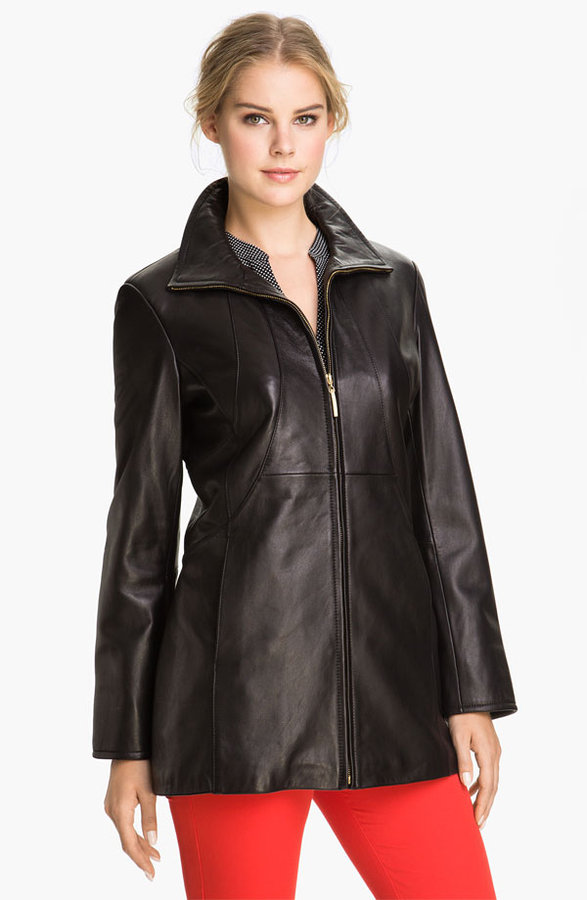 Ellen Tracy Stand Collar Leather Topper (Nordstrom Exclusive)