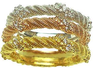 Judith Ripka Sterling & 14K Clad Set of 3 Rings