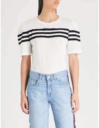 Claudie Pierlot Stripe-detail diamond-knit T-shirt