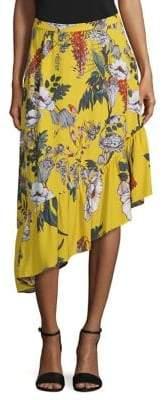 Markus Lupfer Floral Ruffle Asymmetrical Skirt