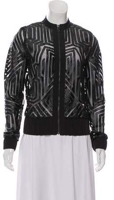Alexis Mesh-Accented Bomber Jacket