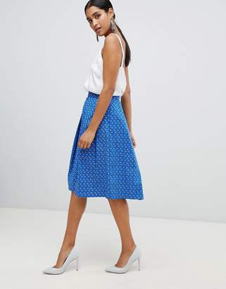 Vesper pleat front midi skater skirt