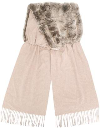 N.Peal fur panelled cashmere scarf