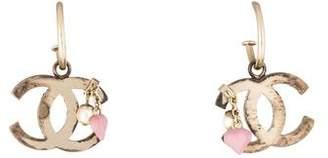 Chanel CC Faux Pearl Heart Charm Earrings