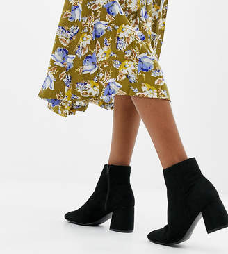 New Look Wide Fit Suedette Heeled Boot