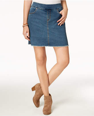 Style&Co. Style & Co Frayed Pull-On Denim Skort